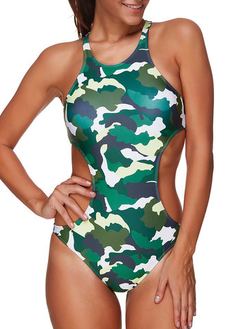 Waist Hollow Out Backless Camo One Pieces  Swimwear For Women