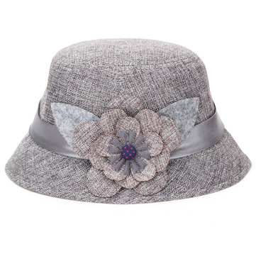 Big Flower Flax Sunshade Hat Breathable Hollow Out Linen Beach Straw Cap