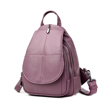 Women PU Leather Backpack Dual-use Retro Shoulder Bag