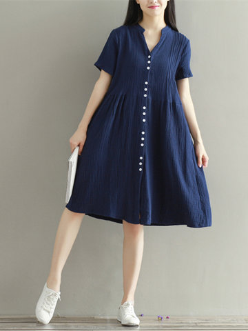 Vintage Split Short Sleeve Women Loose Buttons Dresses