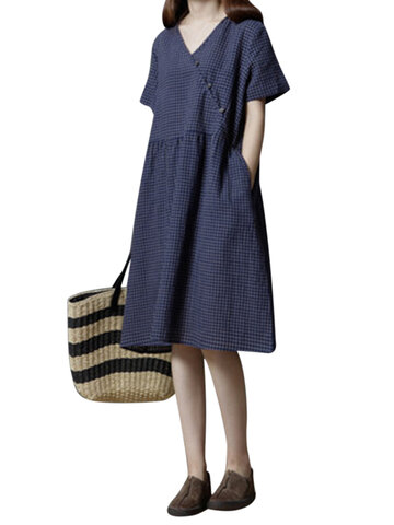 Vintage Plaid Cross Wrap Loose Short Sleeve V-neck Dress For Women