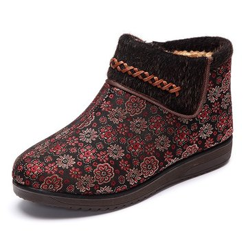 Cotton Flower Knitting Fur Lining Keep Warm Casual Outdoor Flat Boots