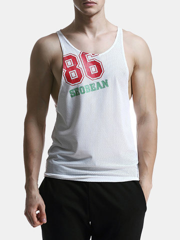 SEOBEAN Mens Mesh Breathable Printed Casual Vest Fitness Jogging Sport Tank Tops