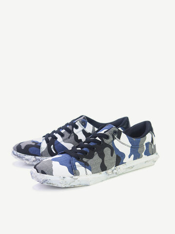 Men Women Lovers Shoes Camouflage Canvas Casual Shoes Lovers Fashion Flat Shoes
