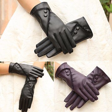 Women PU Leather Full Finger Gloves Touch Screen Ski Winter Warm Mittens