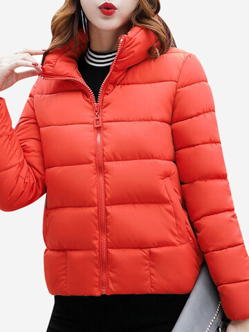 Solid Color Stand Collar Women Down Coats