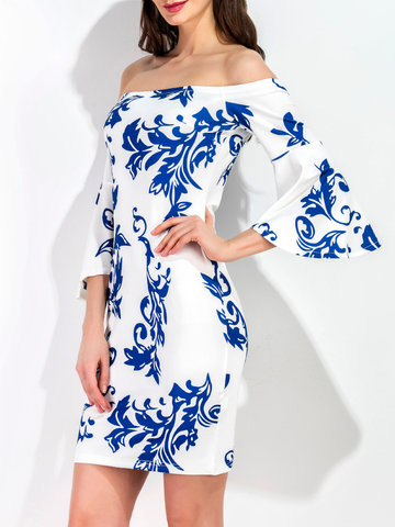 TangJie Sexy Blue Floral Printed Off The Shoulder Trumpet Sleeve Women Mini Dresses