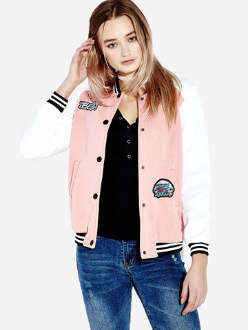 Casual Women Long Sleeve Cotton Short Baseball Jacket