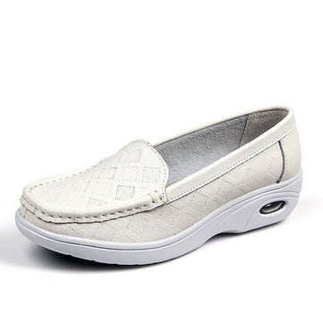 White Leather Slip On Platform Breathable Nurse Shoes