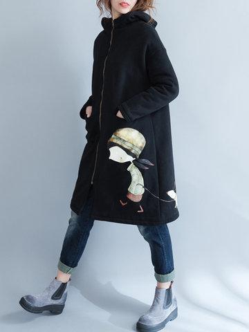 Повседневная мультфильм печати с капюшоном матовая стенд воротник с длинным рукавом пальто