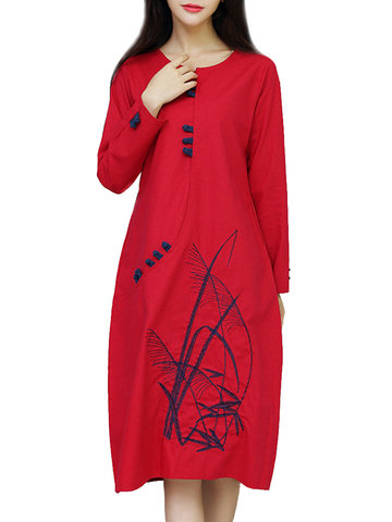 Ethnic Embroidered Plate Button Round Neck A-Line Dress For Women