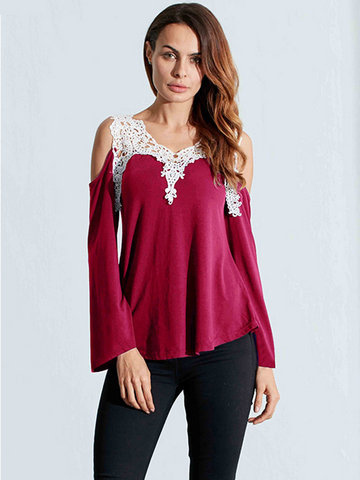 Mujeres Lace Patchwork Hollow Crochet De Hombro Solid T-Shirts