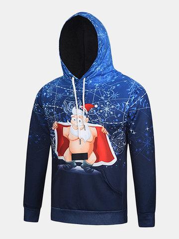 Cartoon Christmas Santa Funny Printing Front Pocket Casual Sport Hoodies
