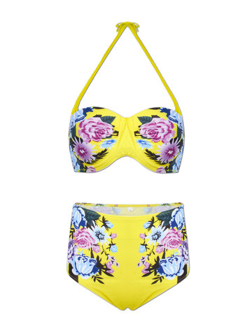 Women Sexy Elegant Floral Print Bikini Sets High Waist Push Up Swimsuit
