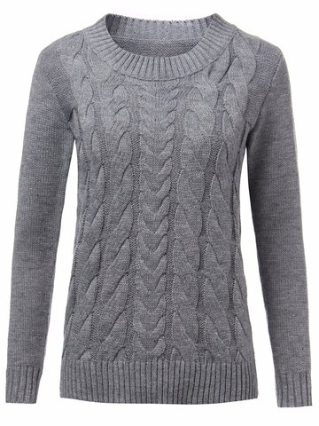 Women Casual Solid Color Long Sleeve O-neck Sweater