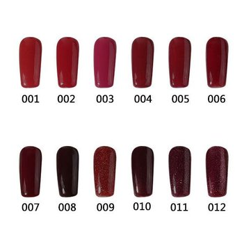 12 Colors 12ml Nano Wine Red Color System Nail Art UV Gel Polish Soak-off