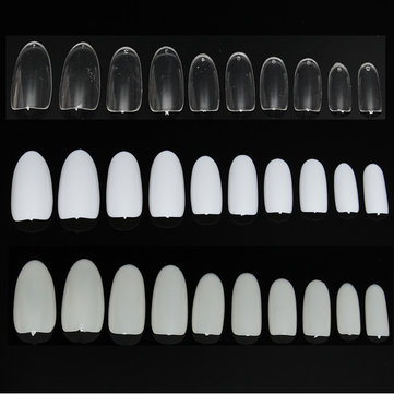 500 Pcs Full Round French False Nail Art Tips Acrylic White Natural Transparent