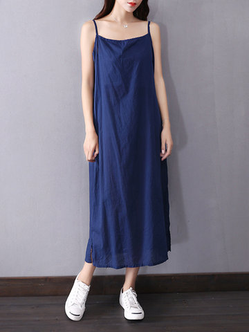 Casual Pure Color Spaghetti Strap Split O-neck Dress For Women