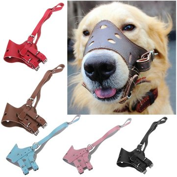 Adjustable Leather Dog Muzzle Pet Dog Prevent Bite Mouth Mask Multicolor Choices