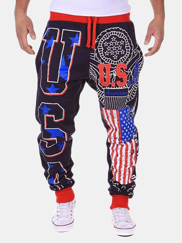 Men's Casual American Flag USA Letter Printing Design Cotton Lining Pants Ankle-tied Pants