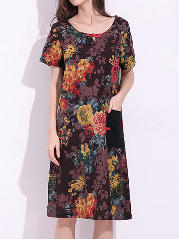 Chinese Style Short Sleeve Pocket Floral Printed Dresses For Women