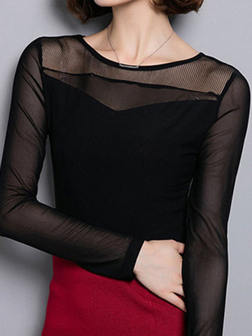 Women Lace Gauze Patchwork Long Sleeve Slim T-Shirt