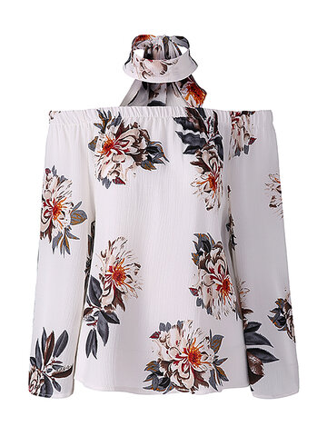 Sexy Off-shoulder Floral Print Loose Long Sleeve Blouse For Women