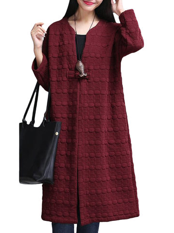 Plus Size Solid O-Neck Long Sleeve Button Long Coat For Women