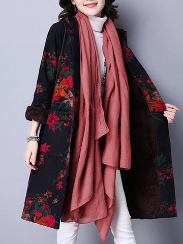 Women Single-Breasted Floral Printed Long Sleeve Hooded Thicken Coats