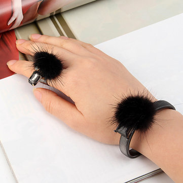 Statement Mink Fur Ball Crystal Open-end Ring Bracelet