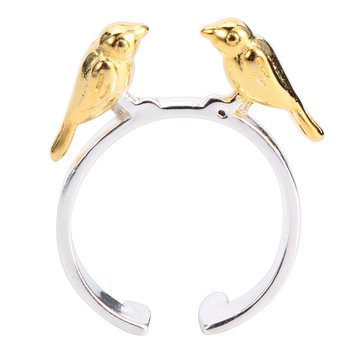 Sweet S925 Sterling Silver Gold-plated Birds Women Ring