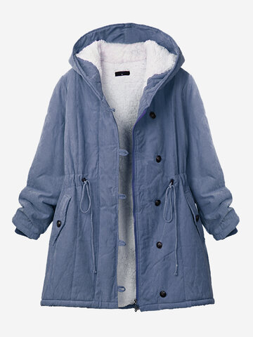 Pure Farbe Hooded Drawstring Thicken Coat