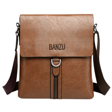 Men PU Leather Crossbody Bag Casual Business Shoulder Bag