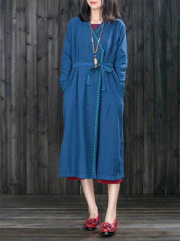 Embroidered Mid-Long Coats With Belt