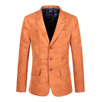 Casual Business Slim Solid Color Single Breasted Tweed Blazers for Men