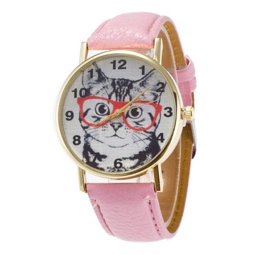 Glasses Cat PU Leather Band Watch