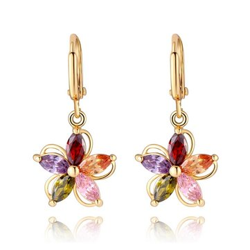 Zircon Crystal Gold Plated Colorful Flower Earrings