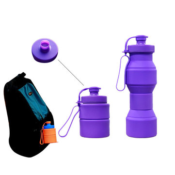 Retractable Sports Kettle Creative Silicone Folding Bottle Outdoor  Portable Rinse Cup