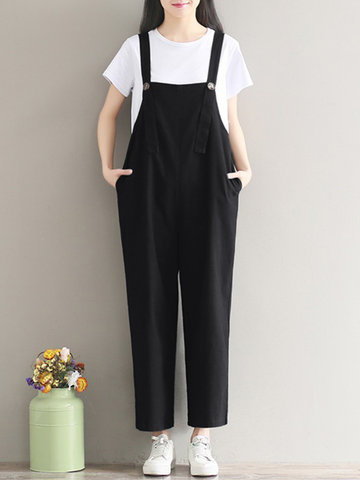 Gracila Casual Loose Strap Romper Trousers Overalls For Women