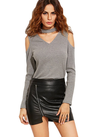Casual Cold Shoulder Choker Long Sleeve V-neck Women T-shirts