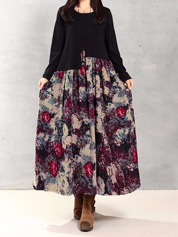 Splicing Floral Leaf Print Patchwork Loose Long Sleeve Women Dress