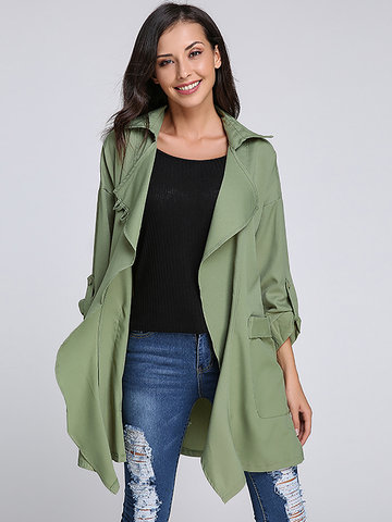 Long Sleeve Drawstring Elastic Lapel Jacket