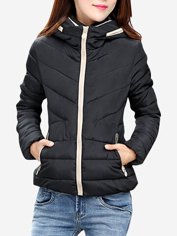 Pure Color Zipper Winter Short Coats