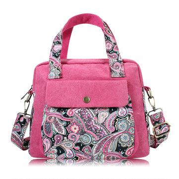 Женщины Винтаж Цветочные печати Холст сумки Ретро кросс-чехол Сумка