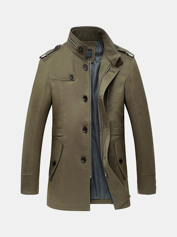 Business Casual Trench Coat Single-breasted Turndown Collar Jacket Coat for Men