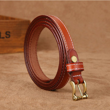 105CM Women Retro Second Layer Of Leather Belt Pin Buckle Sew Edge Solid Casual Waistband