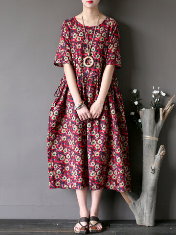 Vintage Casual Women Short Sleeve Floral Print Dresses