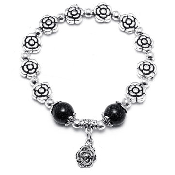 Silver Crystal Bracelet Rose Flower Bead Bracelets for Women