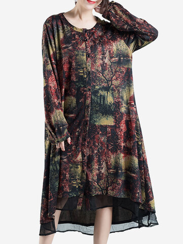 Vintage Print Patchwork Thicken Long Sleeve O-neck Women Coats