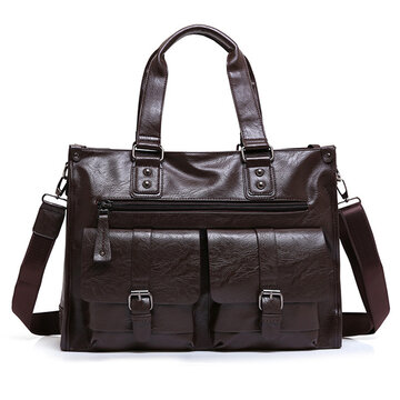 Genuine Leather Business Briefcase Vintage Big Capacity Crossbody Bag Handbag For Men